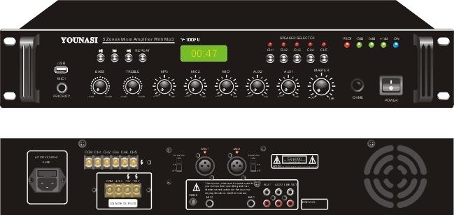 Трансляционный усилитель Younasi Y-60FU, 60Вт, 2 Mic, 2 Aux, USB, 5 zones