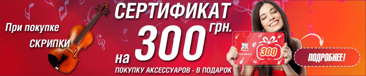 При покупке скрипки - сертификат на сумму 300 грн.